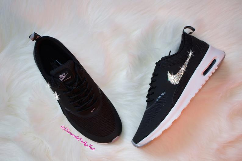 Swarovski Women S Nike Air Max Thea Black White Sneakers Etsy Nike Air Max Thea Black Nike Air Max For Women Nike Air Max Thea