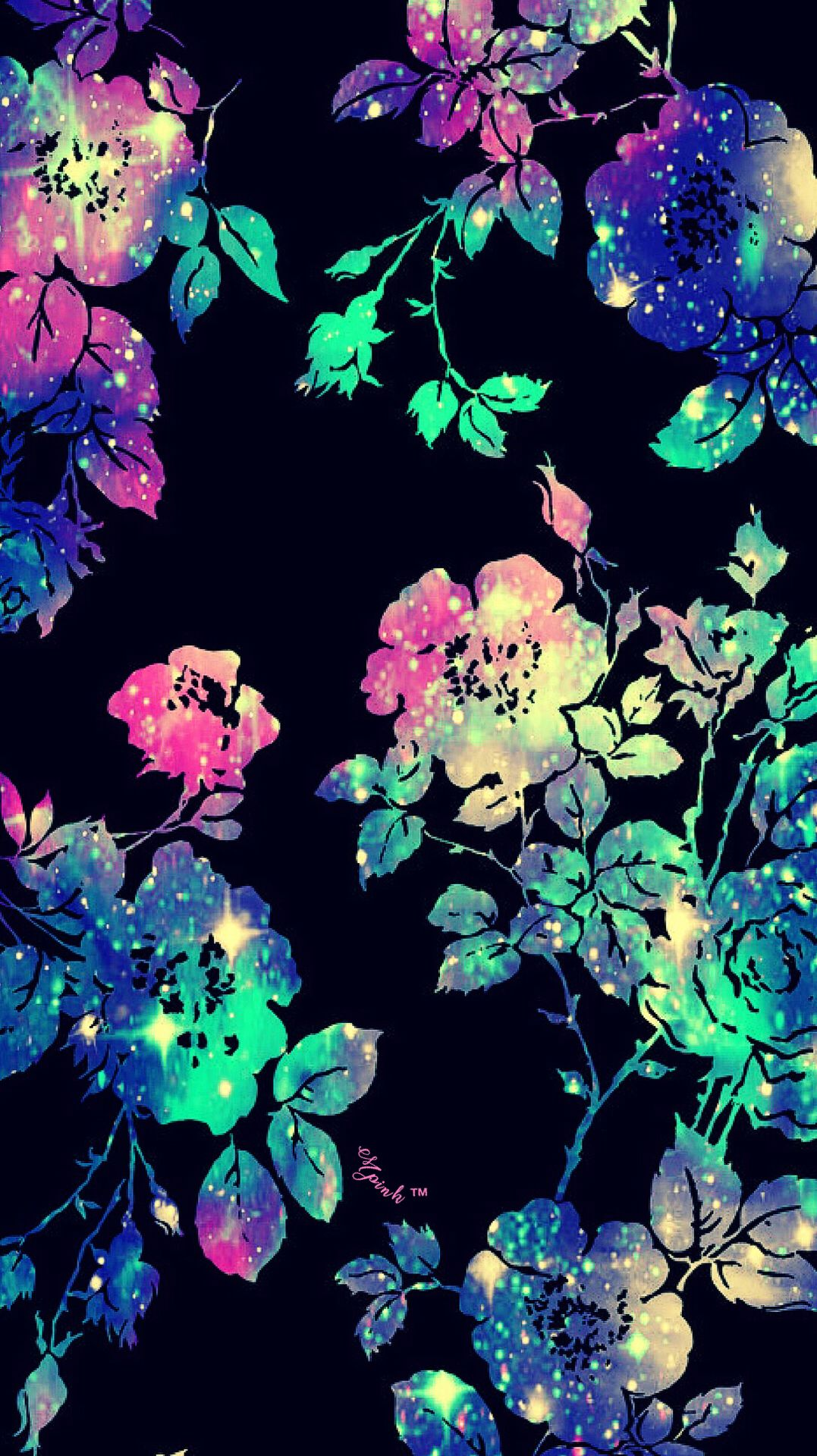 Flower Pattern Galaxy iPhone/Android Wallpaper I Created