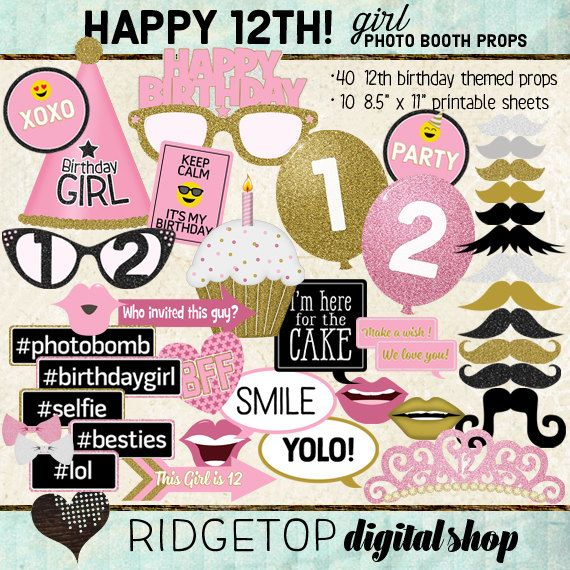 Photo Booth Props HAPPY 12TH BIRTHDAY girl printable sheets