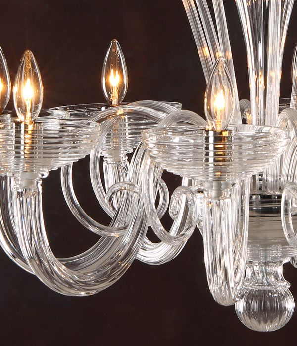 Murano Gl Chandelier Eight Light Hand N Clear Venetian