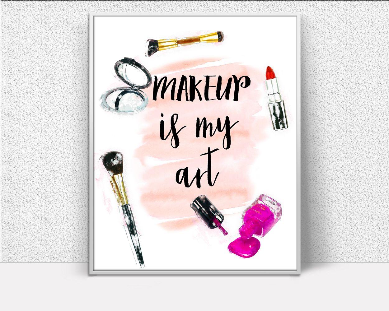 Makeup Prints Wall Art Makeup Digital Download Makeup Fashion Art Makeup Fashion Print Makeup Instant Makeup Wall Art Wall Art Prints Printables Makeup Canvas