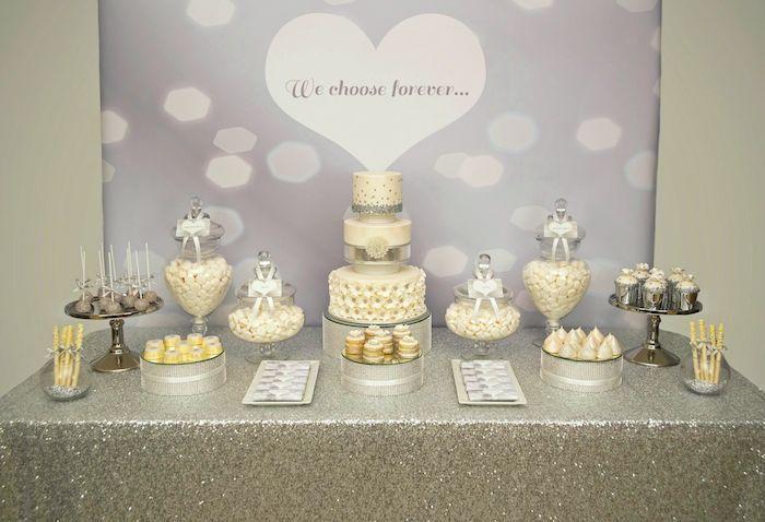 silver sequins wedding dessert table