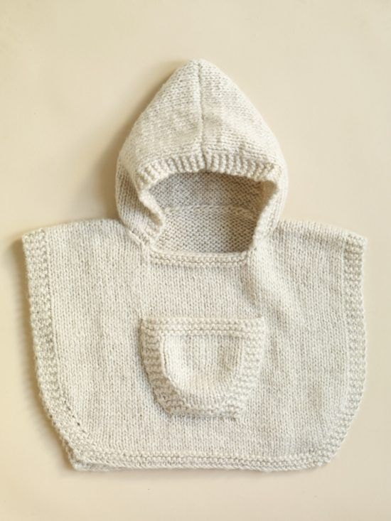 Knitted Hooded Baby Poncho Pattern Free | Patrones, Ponchos y Tutoriales