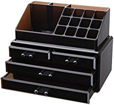Vencer Jewelry and Makeup Storage Display Boxes (1 Top 4 Drawers) Cosmetic Organizer (Tawny) VMO-002