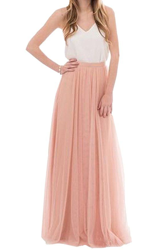 e21861e2aa Honey Qiao Women's Maxi High Waist Skirts Blush Tulle Holiday Formal Skirt  at Amazon Women's Clothing store: