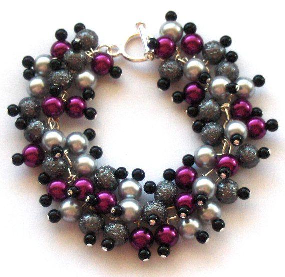 Pearl Cluster Bracelet Magenta Silver and Black