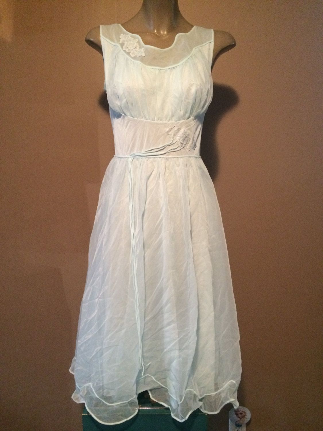 Vintage eggshell blue slip nighty sleep nightgown slip by