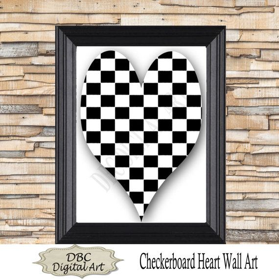 black wall art heart wall art checkerboard wall by dbcdigitalart