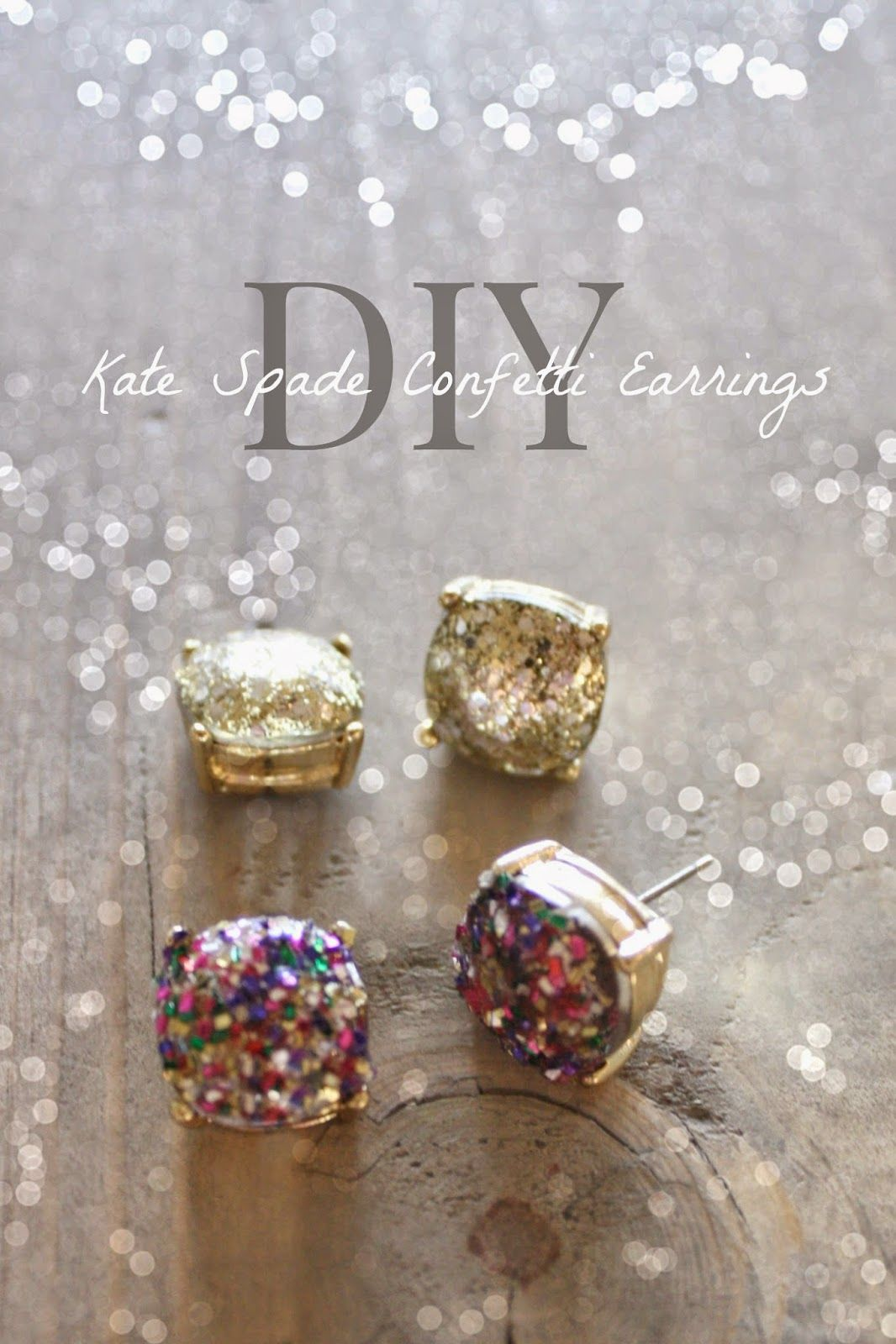 diy cheap and easy kate spade knockoff glitter earrings tutorial