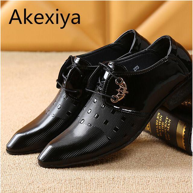 akexiya 2017 hombres de oficina zapatos de vestir italiano de la