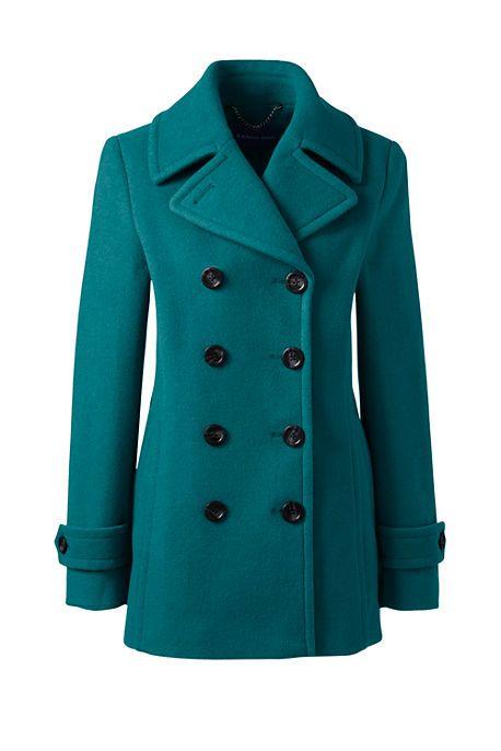 LOVE this peacoat!!! Women's Petite Wool Peacoat (Teal) | Wool peacoat,  Coats for women, Red wool coat
