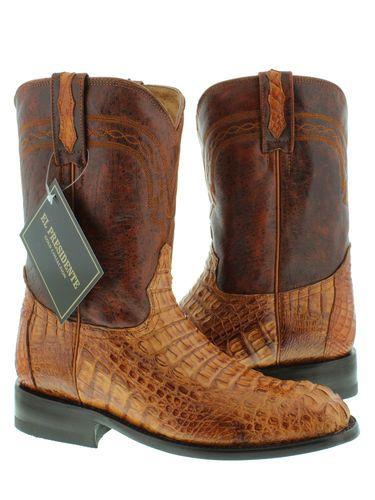 Men's Cognac Brown Genuine Crocodile Hornback Leather Cowboy Boots Roper Toe