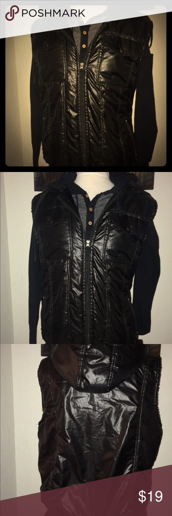 315dbca8df71c Courage clothing co Black puffer vest men's XL Men's Courage Clothing Co Sz  Xl Black shiny
