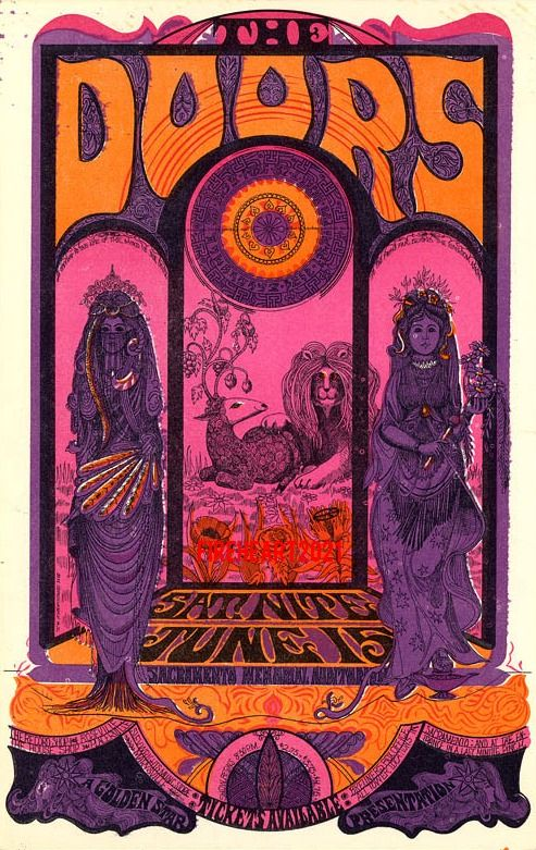 Doors psychedelic poster 1968 Classic rock music psychedelic concert poster