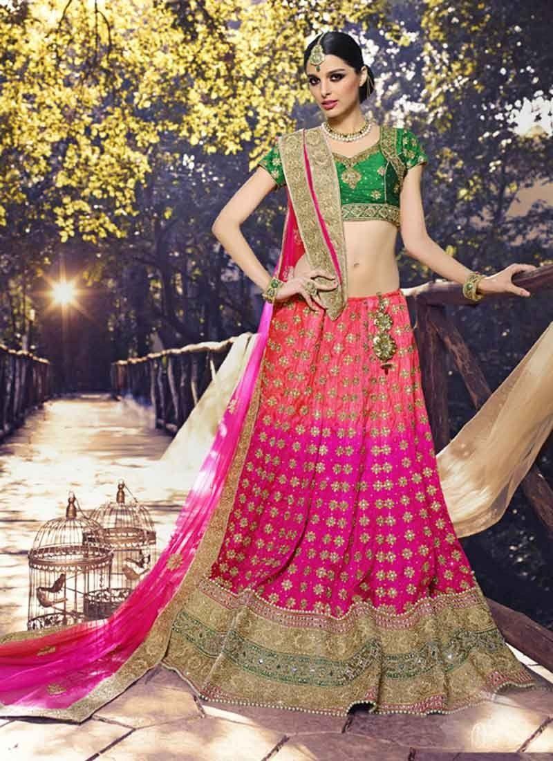 c5fd5e86715bd Gorgeous Pink & Rani Color Lehenga Choli | Lehengas | Pink bridal ...