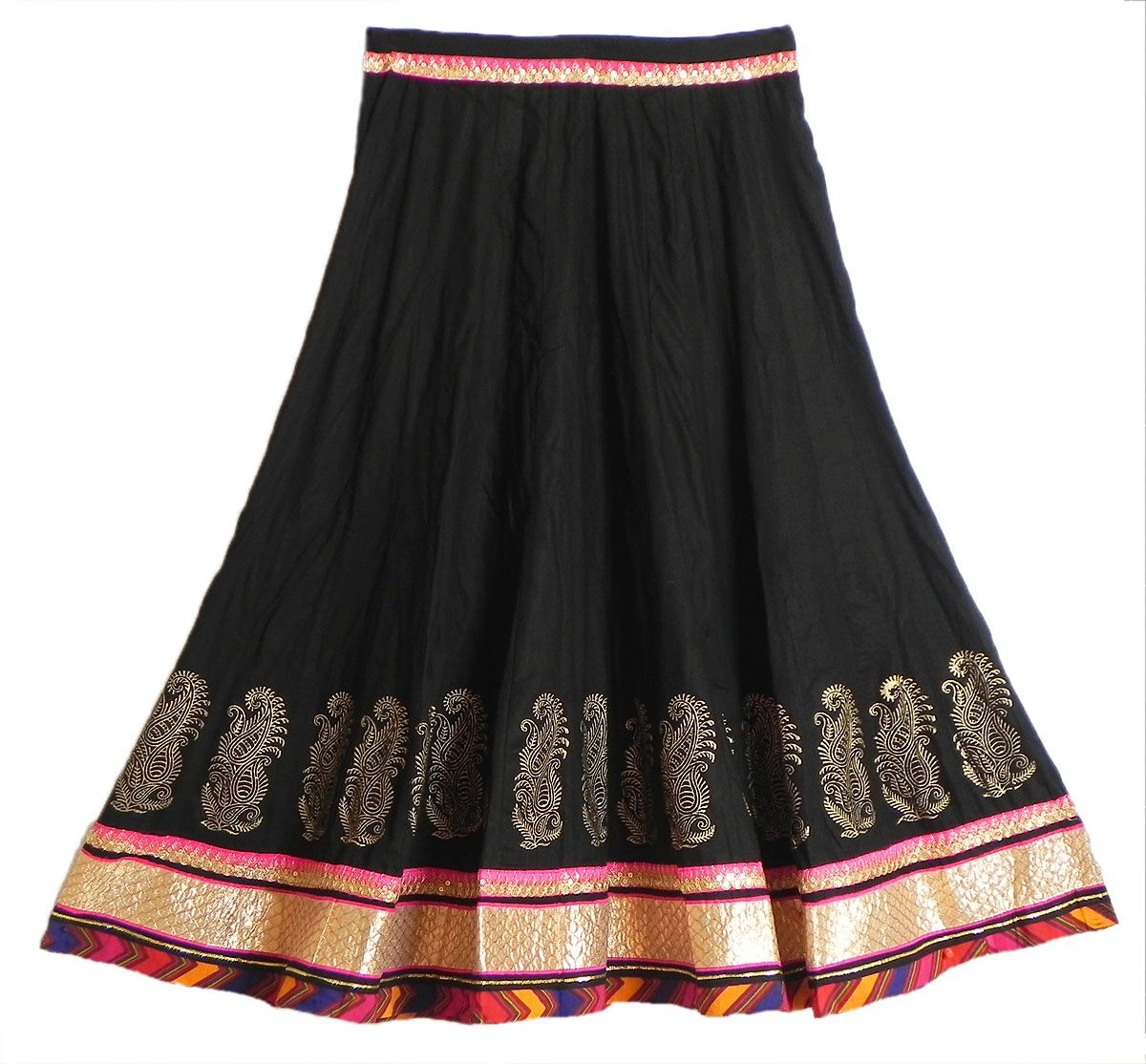 Black Cotton Long Skirt with Multicolor Border (Cotton) | Skirts ...