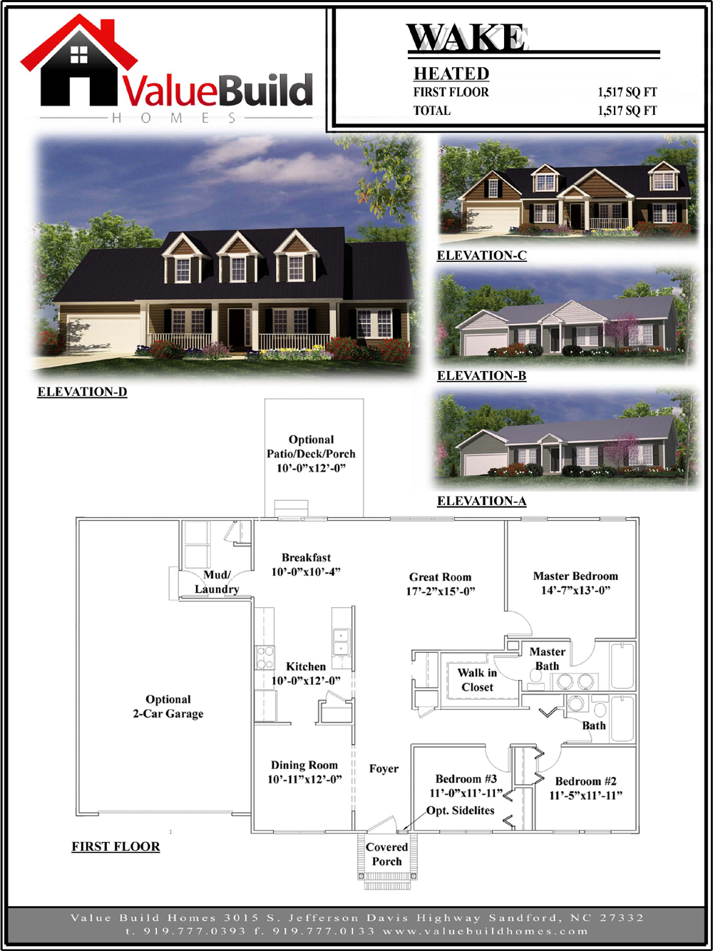 Wake House Plan Custom Floor Plans By Value Build Homes Floor Plans Custom Floor Plans House Plans