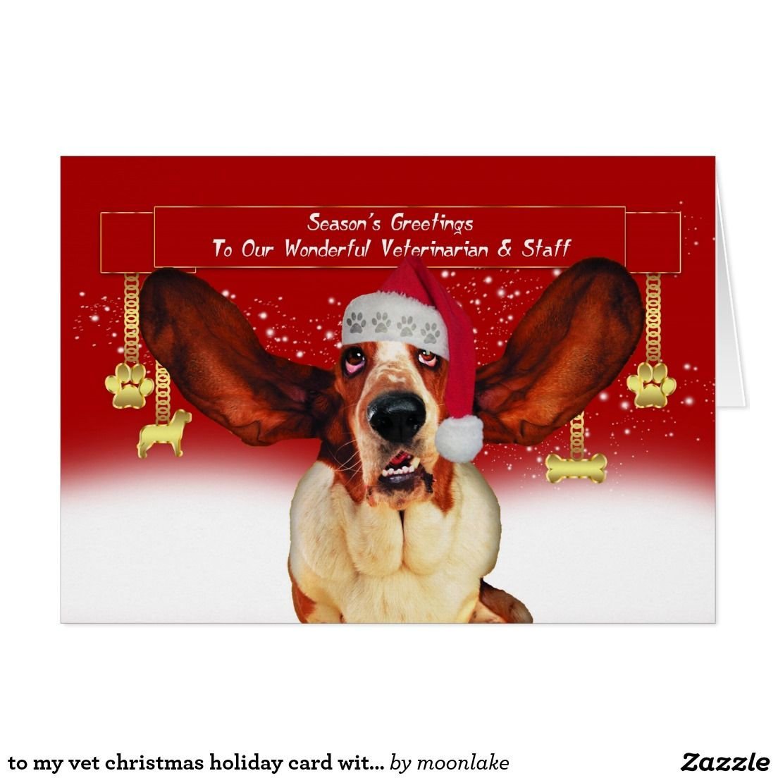 To my vet christmas holiday card with basset hound | Christmas Cards ...