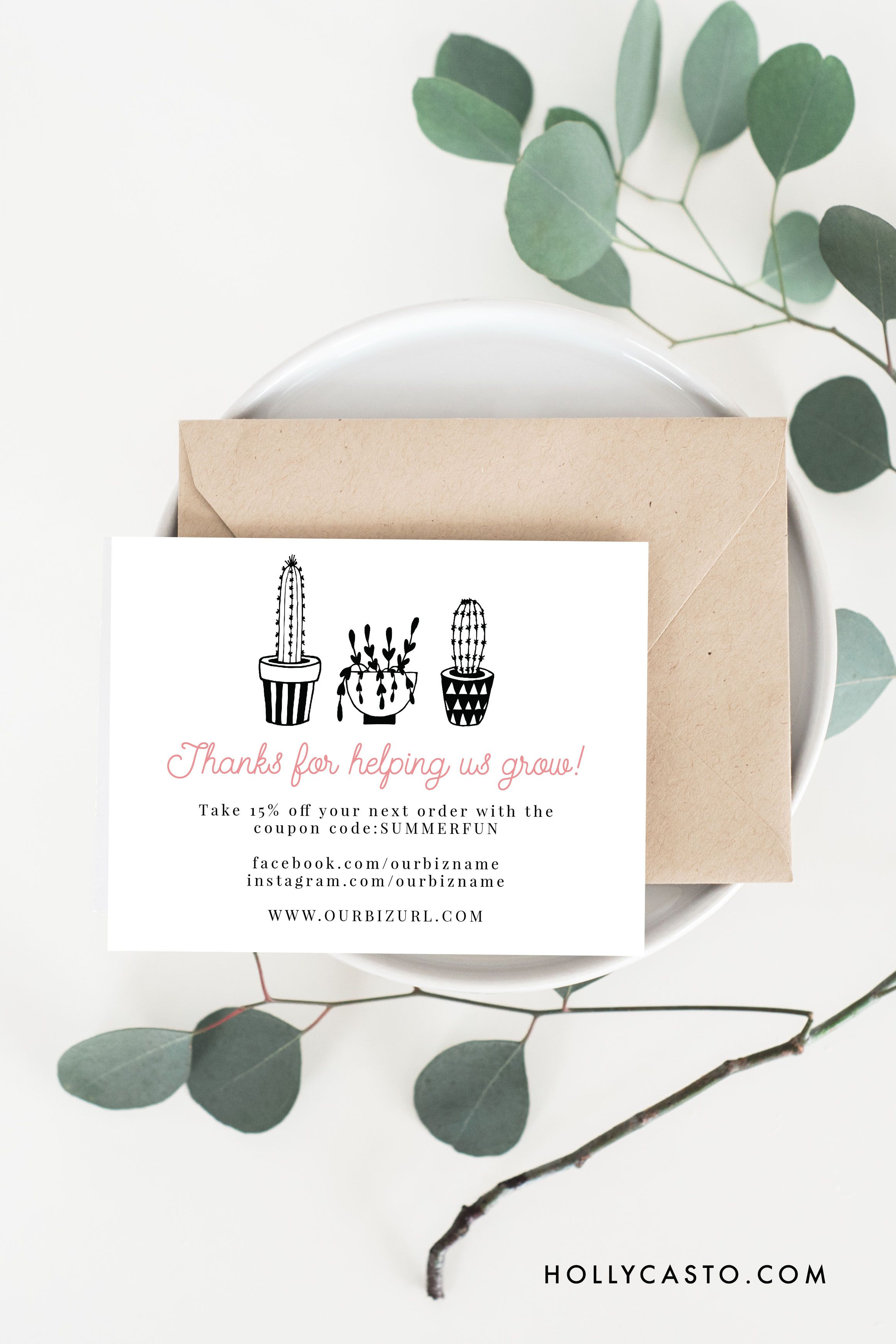 Printable Thank You Cards Cactus Business Pinterest Thank