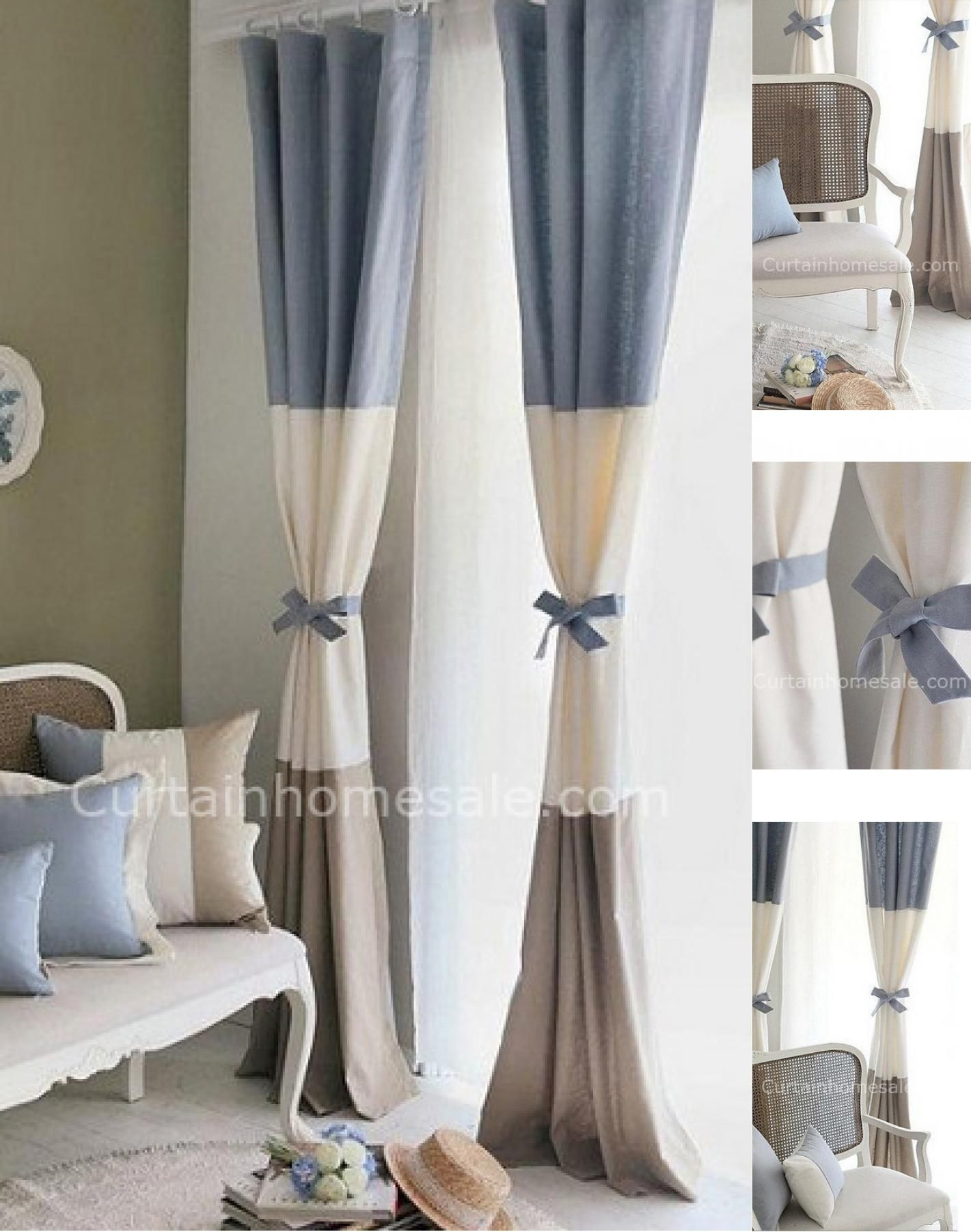 Blu e Beige colorate tessuto di cotone Moderno Tenda per il salone o ...