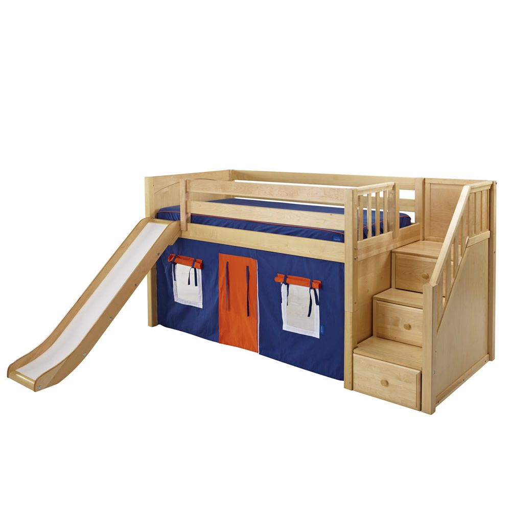 Maxtrix Delicious Playhouse Low Loft in Natural w Stairs u Slide