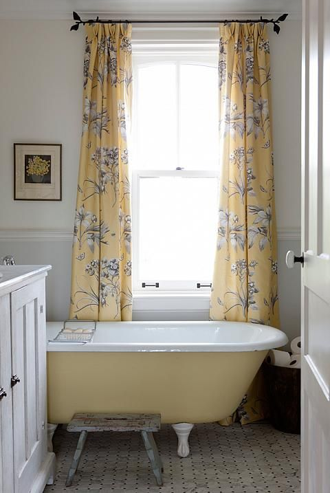 A Soft Color Scheme Of Yellow White And Graphite Makes The Main Bathroom In Sarah Richardsons Farmhouse Feel Like Country Afternoon Bright Fresh