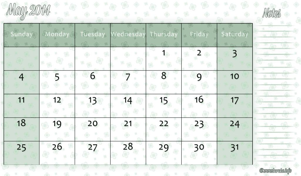 Free Printable Calendar Templates For May 2014 Calendars