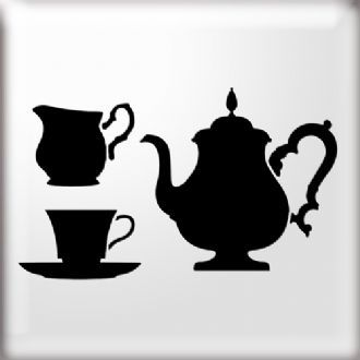 teapot and teacups silhouette stencil images stencils