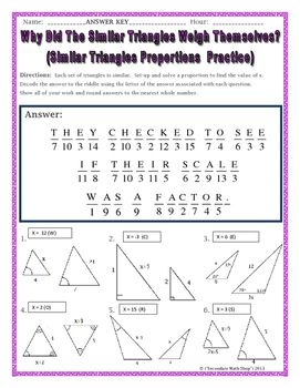 Similar Triangles Proportions Practice Riddle Worksheet Word Problem Worksheets Math Memes Teaching Geometry