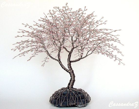 Cherry Blossom Wire Tree Beaded Bonsai Sculpture Large 12\
