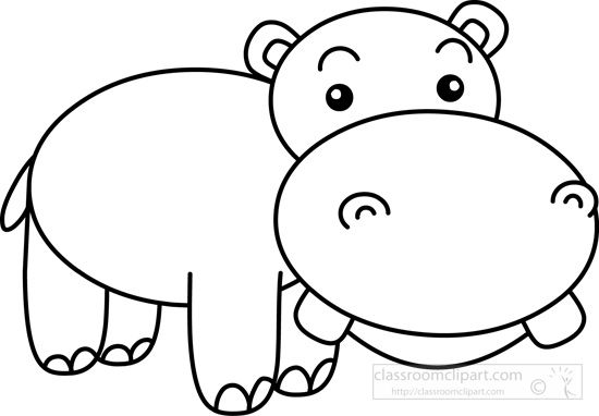 Animals Big Teeth Cute Hippo Black White Outline Animals Black And White Cute Hippo Baby Animal Drawings