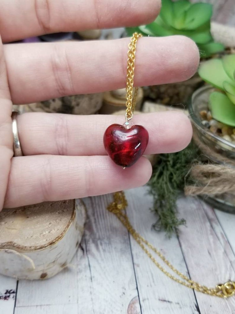 Photo of Dark Red small heart necklace, popular Valentine's day jewelry, blown glass pendant necklace, lampwork bead, dainty jewelry for girlfriend
