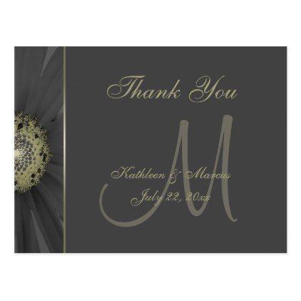 #wedding #thankyoucards - #Black and Gold Daisy Monogram Thank You Postcard