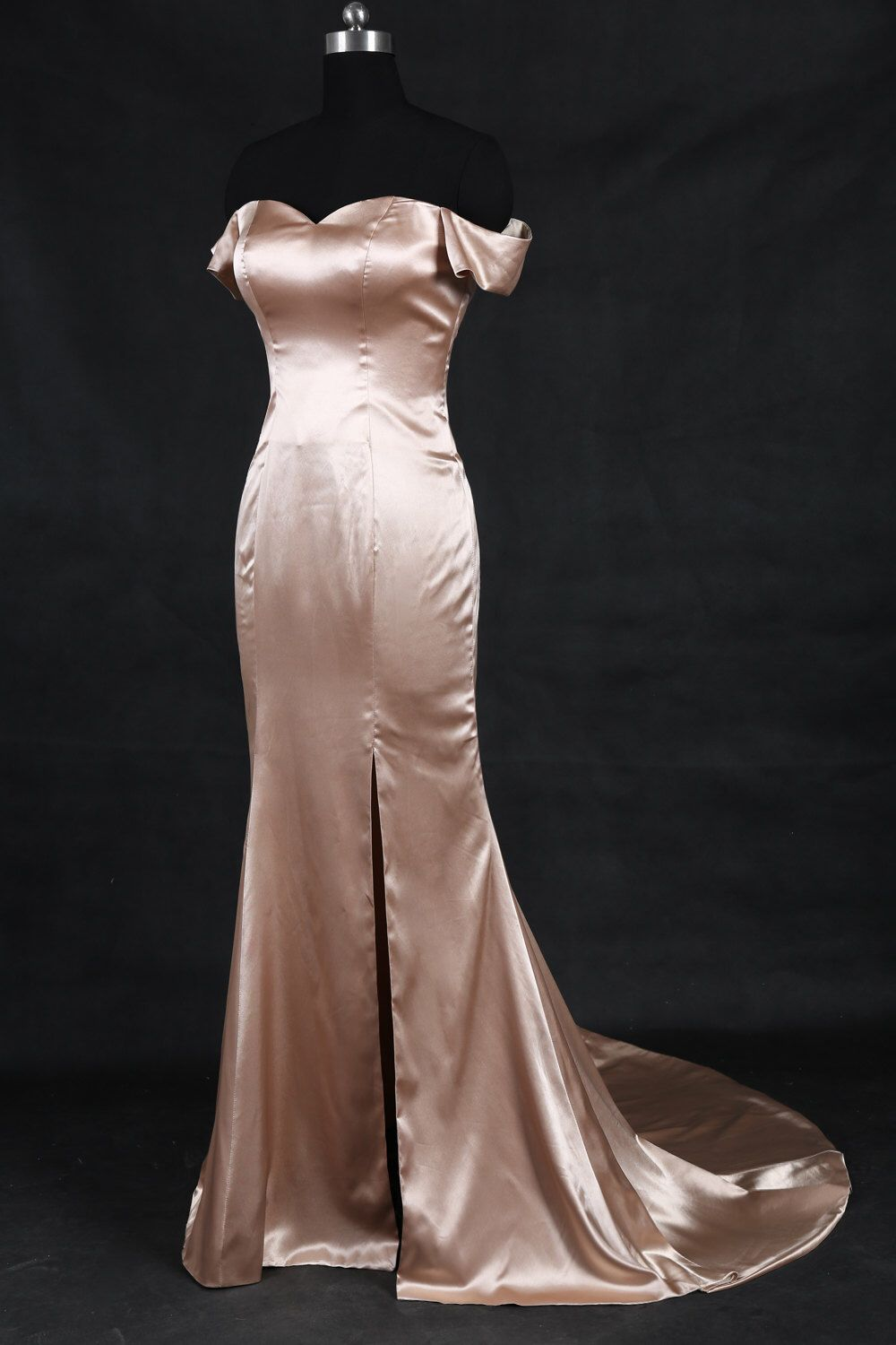 Sexy champagne off the shoulder prom dressmermaid silk satin prom