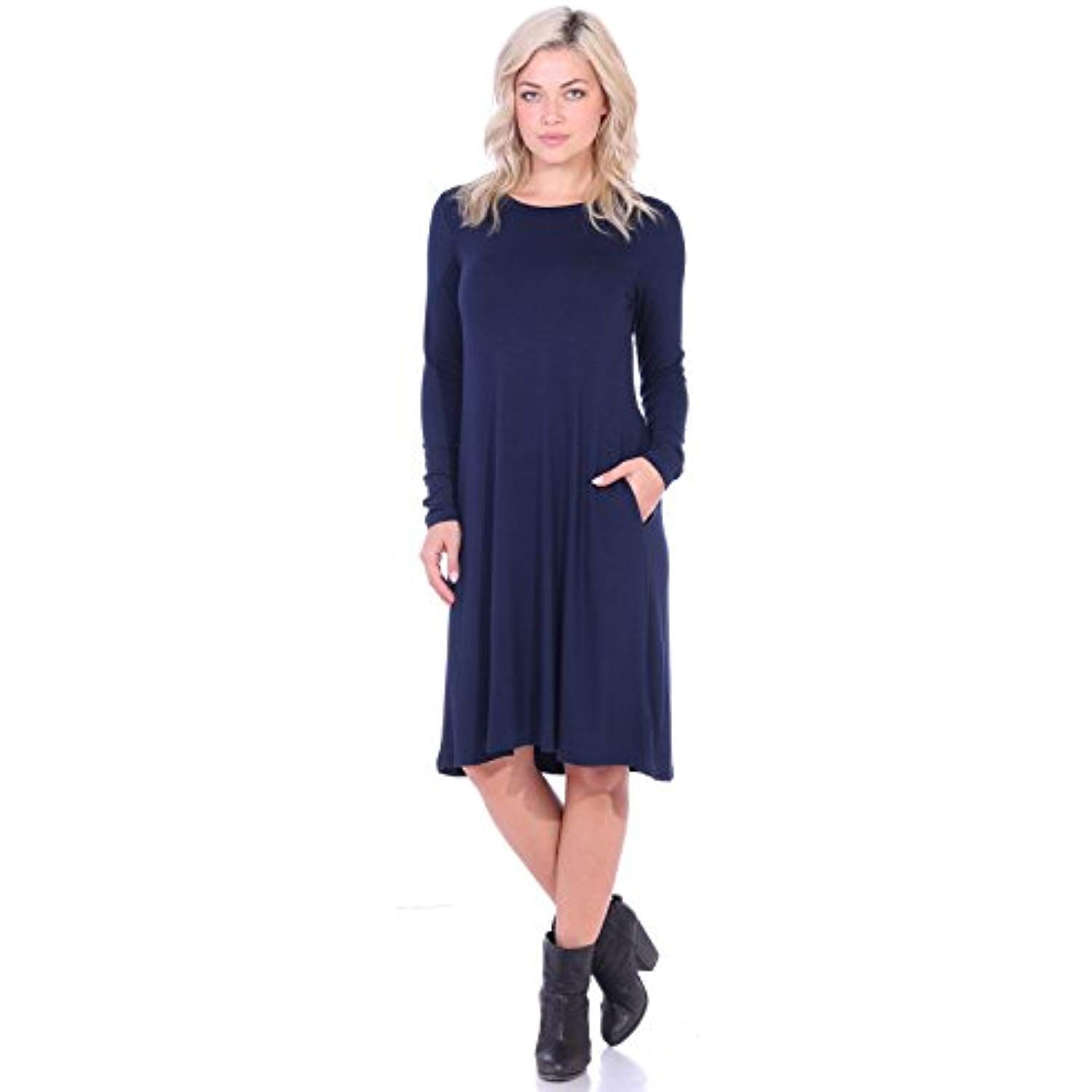 Womens Dress With Pockets Long Sleeve Below The Knee Length Swing Fall Dress Read More At The Image Link This Is Womens Dresses Fall Dresses Pocket Dress [ 1500 x 1500 Pixel ]