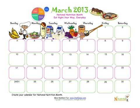 National Nutrition Month Create Your Own Calendar Activity March - how to create your own calendar