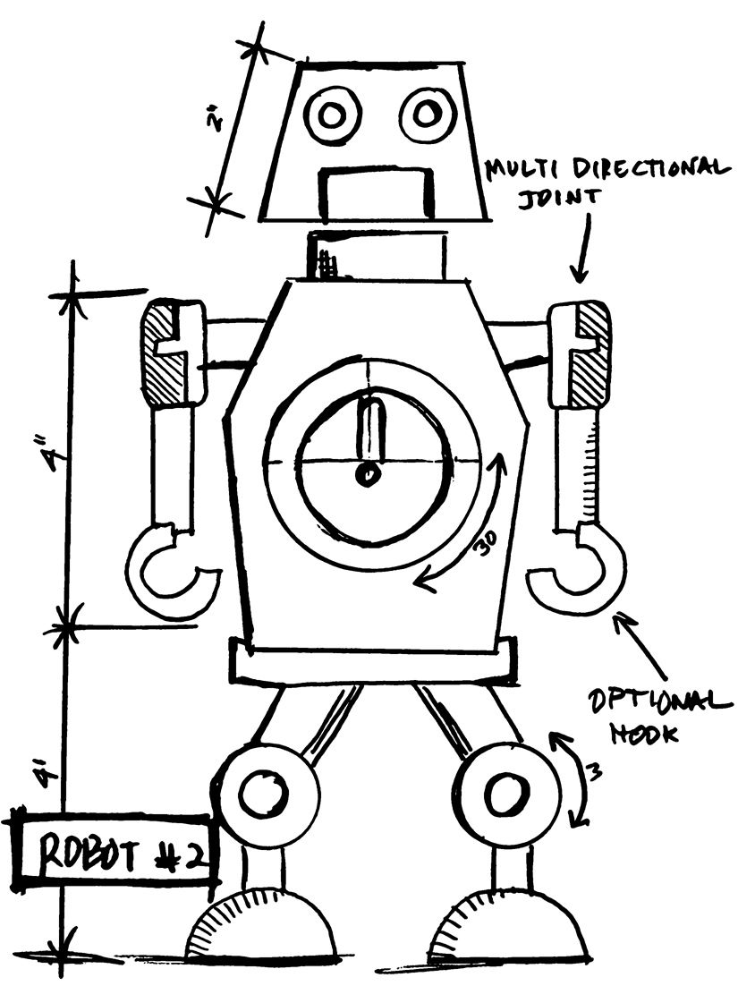 Tim Holtz Rubber Stamp 2015 ROBOT 2 SKETCH Stampers Anonymous P42633