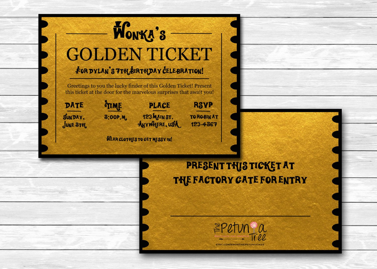 Printable custom Willy Wonka\'s Golden Ticket party invitation ...