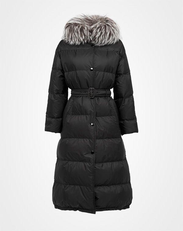 Prada - Faux fur trimmed oversize black nylon down jacket