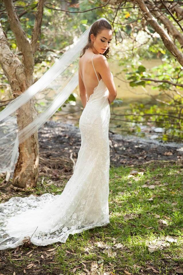 Bella Wedding Dress And Chani Veil Low Back Lace Wedding Dress