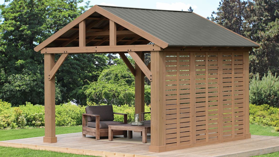 12 ft. Pavilion Privacy Wall - Yardistry Structures - Gazebos, Pavilions and Pergolas