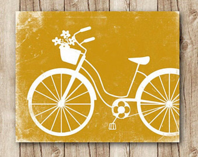 bicycle art download bicycle poster mustard yellow wall decor jpg ...
