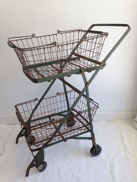 Vintage Metal Grocery Cart Quot Folding Basket Carrier Quot With