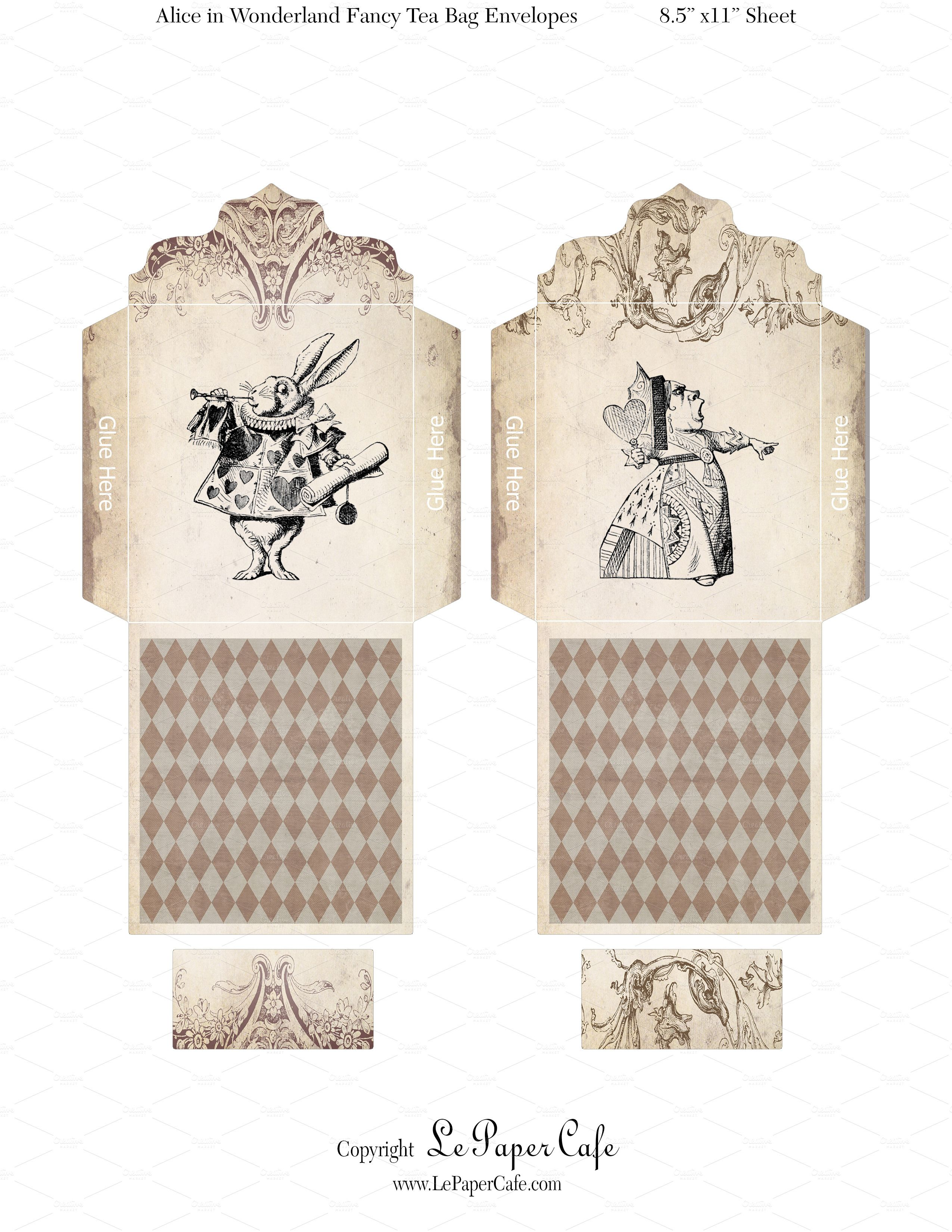 Free Printable Tea Bag Envelope Alice In Wonderland