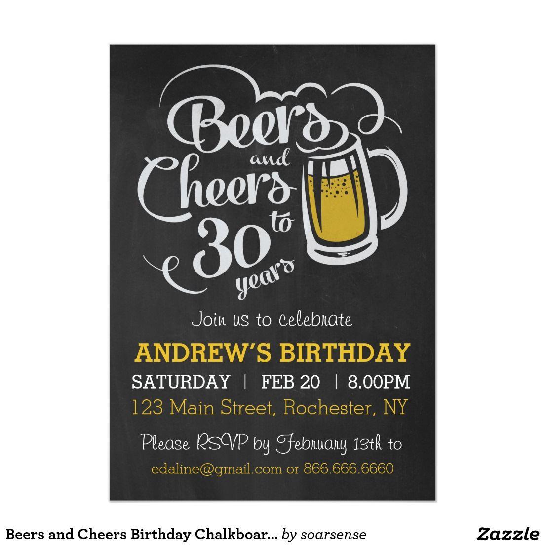 Beers And Cheers Birthday Chalkboard Invitation  Chalkboard
