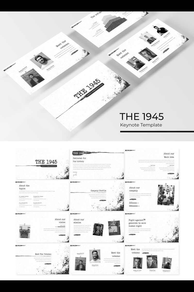 The 1945 Black & White Keynote Template Keynote template