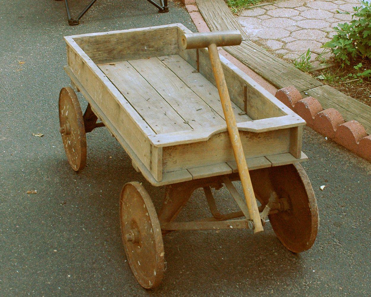 Very old antique wooden wagon   Garden Cart   Pinterest   Wooden wagon