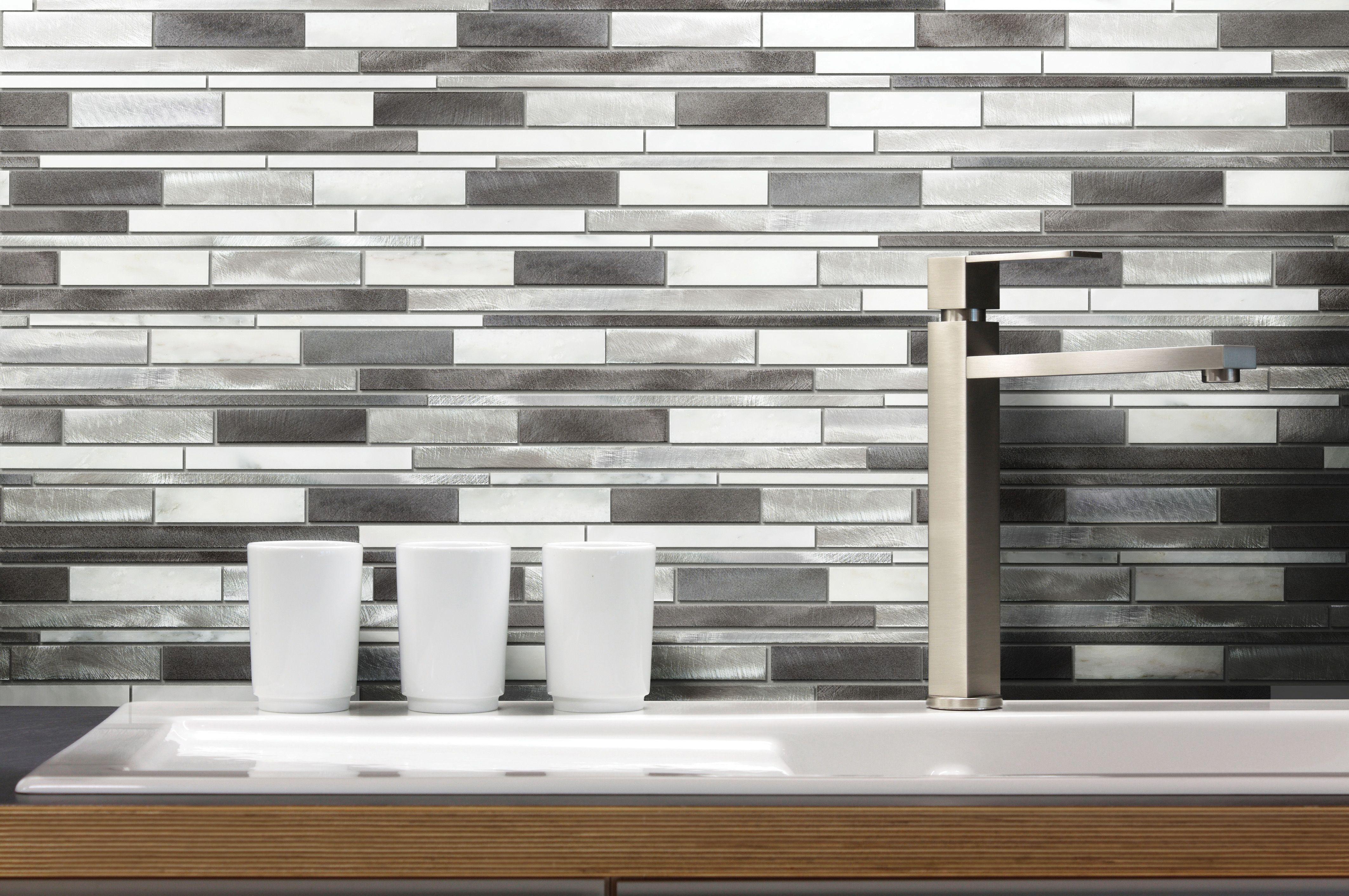 anatolia tile sleek ice linear mosaic metal and stone wall tile rh pinterest com