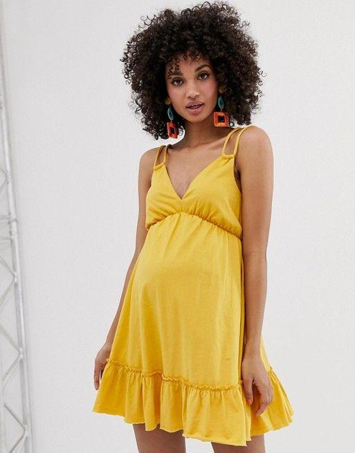 DESIGN Maternity mini smock sundress with pep hem