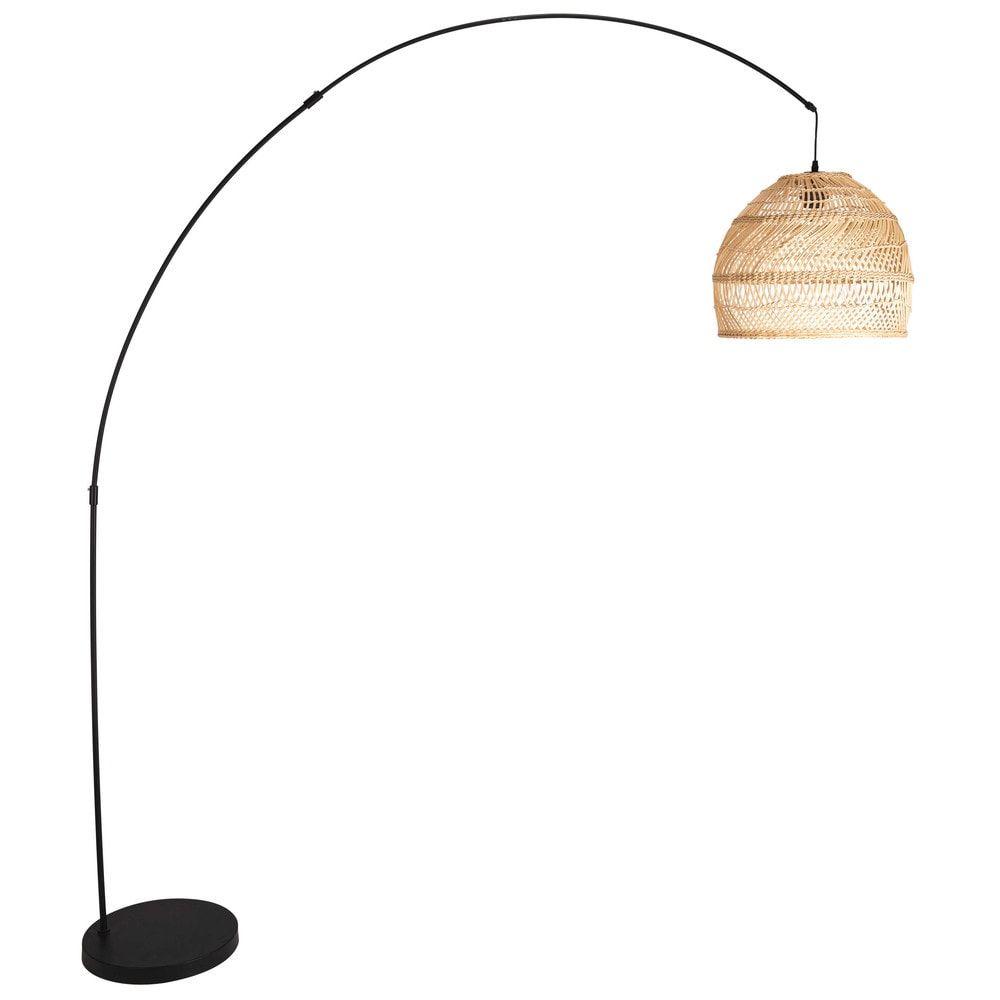 Stehlampe aus geflochtenem Rattan und schwarzem Metall H.10cm